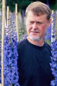 Lennart Larsson bland riddarsporrar på plantskolan.